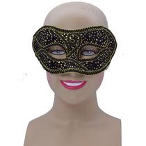 Masquerade Costume - Señoras Negro Oro Manchado Máscara De
