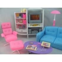 Barbie Tamaño Dollhouse Muebles - Habitación Familiar Tv Sof