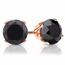 Aretes Broqueles Oro 10k Rosa Y Hermosos Diamantes Negro