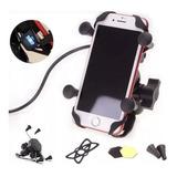 Base Soporte Porta Celular Con Cargador Para Moto Ciclismo