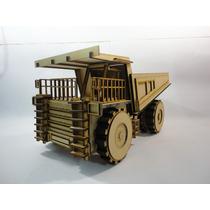 Camion Volteo Minero Hecho En Madera Mdf Rompecabezas 3d