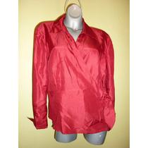 Elegante Blusa Jm Collection Rojo Quemado Extra Grande 18