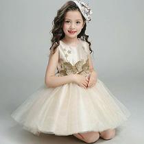 Vestidos Fiesta Dorado Para Niña Envio Inmediato En Venta En