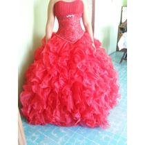 Vestido De Xv Años Color Rojo Con Falda Corta Y Larga Nuevo
