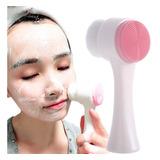 Cepillo Limpieza Facial Doble Cara Manual Exfoliante