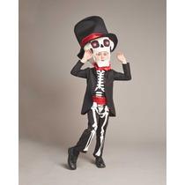Disfraz Calavera Halloween Dia De Muertos Talla 6 A 16 C/luz