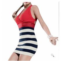 Vestido Franjas Rojo Marinero 0128 Xch Xxg Envio Gratis