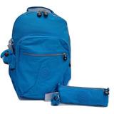 7f09f72ac Kipling Set Mochila Seoul Y Lapicera F 100% Original Azul