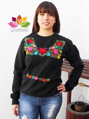 la mejor actitud 70c75 31aea Sudadera Suéter Artesanal Mexicano Bordado A Mano Típico en ...
