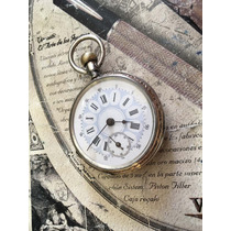 Muy Antiguo Reloj De Bolsillo De Plata De Cilindro Coleccion