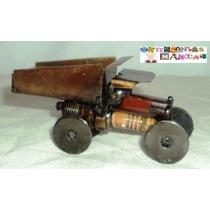 Figura Artesanal Metalica Camion Volteo Grua Don Quijote