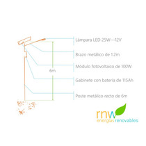 Poste Solar Con Lámpara Led De 25w, 10 A 12 Hrs Rnwlit25w12v