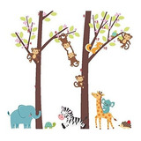 Woodland Artes 3ft X 3ft Jungle Lindo Monos Jirafa Conejos