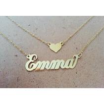 Collar Doble Nombre Corazon Oro Laminado Joyeria Fabricante