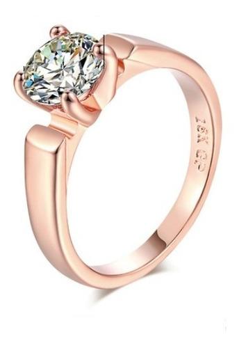 Anillo Compromiso Round Cut Rose Gold Novia Regalo Envío Grt