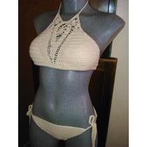Bikini Traje De Baño Crochet , Tejido 100% A Mano, Artesanal
