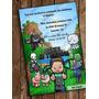 Invitación Digital Estilo Minecraft Fiesta Infantil