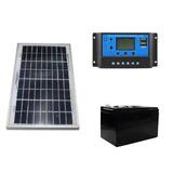 Kit Panel Solar 10w Sistema Aislado 12/24v, Doble Usb 5v