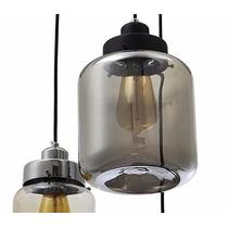 Lampara Vidrio Vintage Industrial Colgante 3 Luces Botella