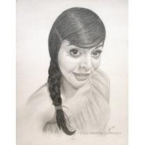 Retrato Hecho A Mano, Dibujo A Lápiz O Carboncillo En Papel