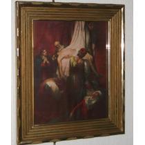 Bonito Cuadro Cristo En Litografía Descendiendo De Cruz.