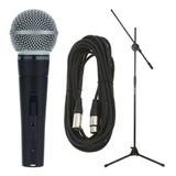 Set Con Micrófono Shure Sm58 Dinámico Cardioide Y Unidireccional