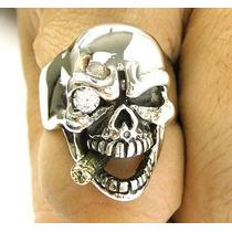 Anillo Esqueleto Calavera Pipa Diamante