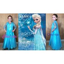 Elsa Frozen Vestido Disfraz Princesa Niña Capa De Hielo Lujo