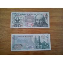Lote De 9 Billetes Antiguos 10 Pesos Hidalgo