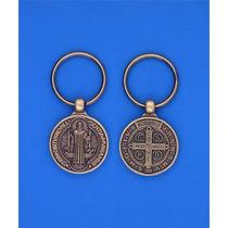 Llavero Medalla San Benito Latón Viejo