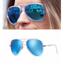 Lentes Ray Ban Aviator Rb 4211 646/55 56-17 Azul Espejo