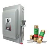 Caja Metálica Interruptor De Cuchillas 2x60 Amp Con Fusibles