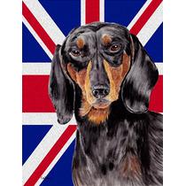 Dachshund Con El Inglés Union Jack Británica Bandera De La
