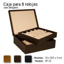 Estuche De Piel Para 8 Relojes Con Alhajero Color Tabaco