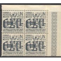 Block De Cuatro Aereos De 1 Peso Del Año De 1946 Onu