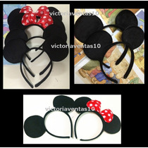 12 Diademas Orejas Mickey Y Minnie Mouse
