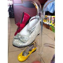 Zapato Para Princesa Color Plateado, Zapatilla De Elsa.