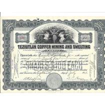 Acción De Teziutlán Copper Mining And Smelting Company 1918