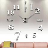 Nuevo Reloj De Pared 3d Moda Grande Único Creativo Plata