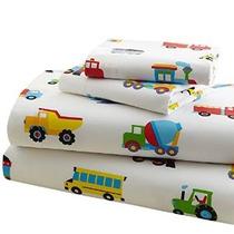 Oliva Niños Trenes Aviones Camiones Niño Juego De Sábanas