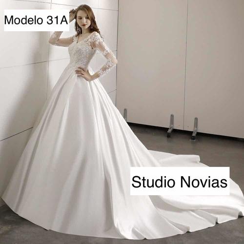 Vestido Vestidos Novia Nuevo Bonito Encaje Razo Satin Bepe