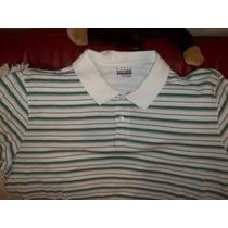 Camiseta Polo Talla 4xl, Blanca A Rayas Aqua, En Piqué
