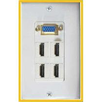 Placa De Pared Con Conectores Vga Y 4 Hdmi
