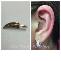 Arete Piercing Pluma En Oro 14k Para Cartilago
