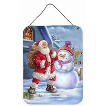 Navidad Santa Claus Y Muñeco De Nieve De La Pared O Puerta