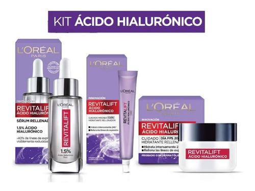 Kit Ácido Hialurónico: Serum Facial, Crema De Día Y De Ojos
