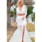 Conjunto Falda Blusa Encaje Blanco Elegante Sexy Fiesta 6750 72bc3ab67aca