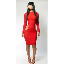 Vestido Entallado Sexy Moda Kardashian Manga Larga Escotado