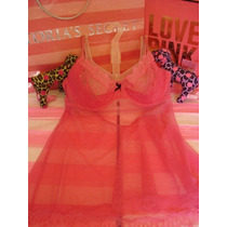 Victorias Secret The Chantilly Pink Bra Baby Doll Sz 36d