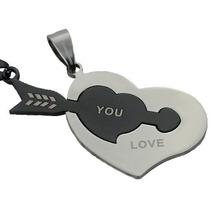 Collar Dije Corazón Y Flecha Regalo Para Pareja Enamorados